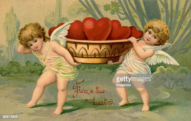 from a true heart postcard - cherub stock illustrations