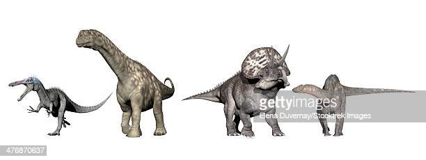 From left to right: Suchomimus, Argentinosaurus, Zuniceratops, Dicraeosaurus