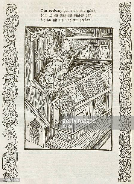 from the ship of fools (1494), wood engraving, published 1879 - bookstand stock illustrations, clip art, cartoons, & icons