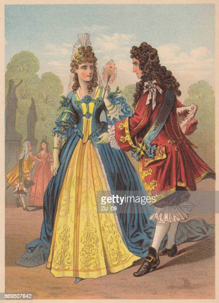 from the time of louis xiv, france, lithograph, published 1887 - nice france stock illustrations, clip art, cartoons, & icons