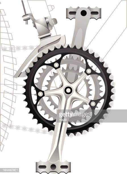 front sprocket with derailleur - derailleur gear stock illustrations, clip art, cartoons, & icons