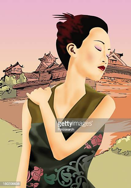 front view of a chinese woman stretching her neck - updo stock illustrations, clip art, cartoons, & icons