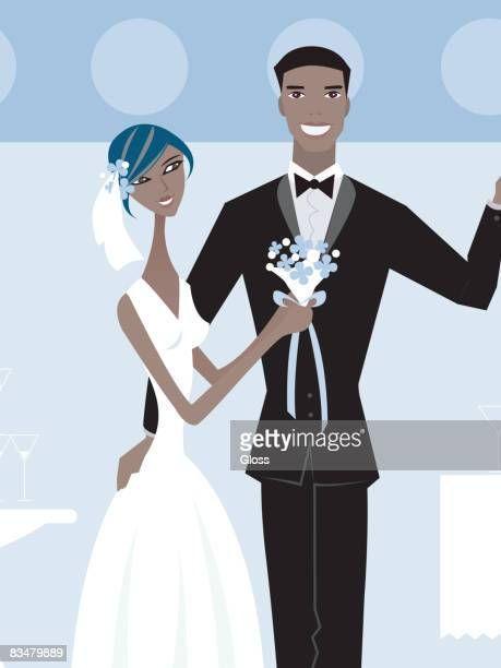 Front view of bride holding bouquet and groom holding glass up for toast