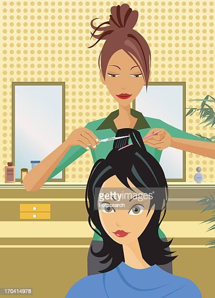ilustraciones, imágenes clip art, dibujos animados e iconos de stock de front view of hairstylist cutting hair - mujeres de mediana edad