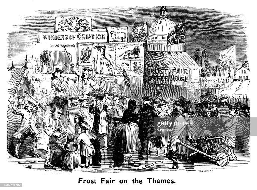 Frost Fair on the River Thames in London : stock illustration