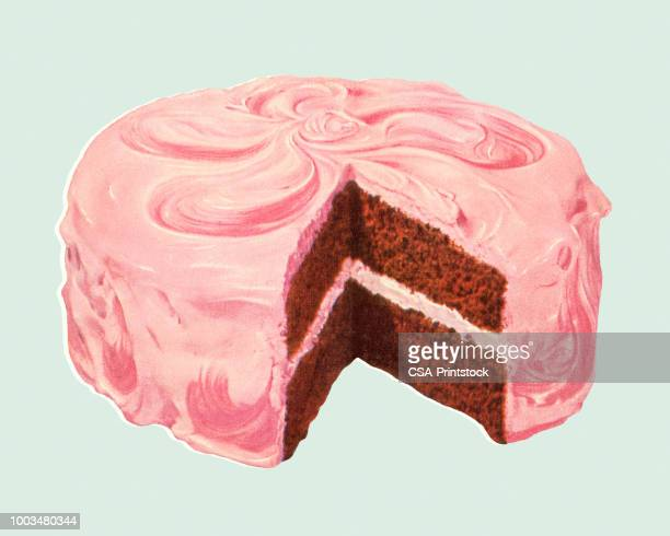 frosted layer cake - dessert stock illustrations