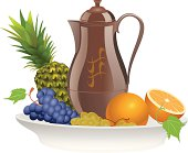 Fruit on a plate with pitcher