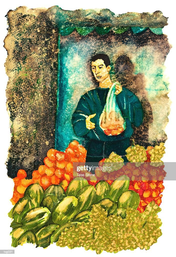 Fruit Seller : Stock Illustration