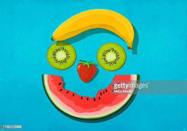 fruit smiley face - food and drink stock illustrations