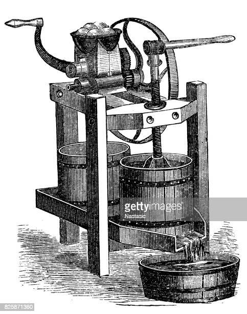 fruit squeeze and fruit mill - history stock illustrations, clip art, cartoons, & icons