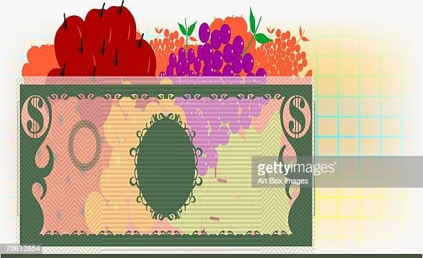 Fruits in a bowl made of paper currency