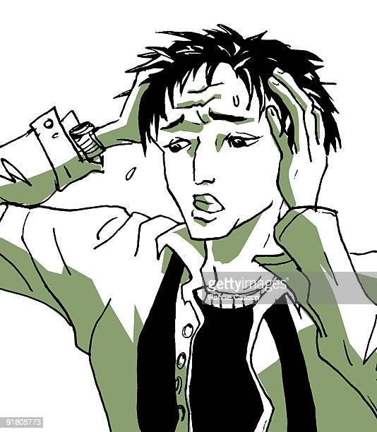ilustraciones, imágenes clip art, dibujos animados e iconos de stock de a frustrated man pulling at his hair - tirarse de los pelos