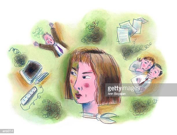 illustrations, cliparts, dessins animés et icônes de frustrated woman - collègue