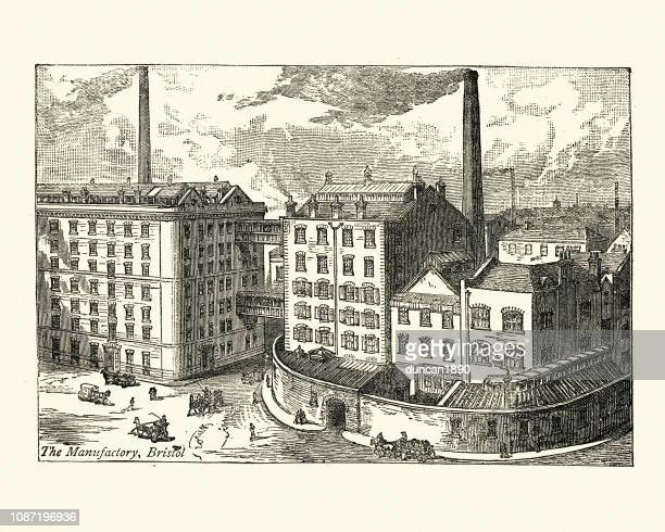 ilustraciones, imágenes clip art, dibujos animados e iconos de stock de fry fábrica de chocolate y cacao, bristol,! siglo ix - revolucion industrial