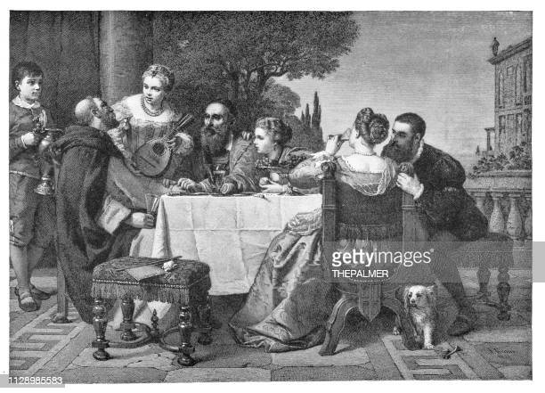 a fête at the house of tiziano engraving 1894 - tiziano vecellio stock illustrations, clip art, cartoons, & icons