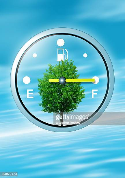 fuel gauge on full, with a green tree - capital letter stock illustrations