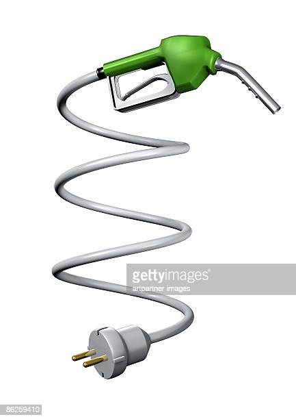 ilustrações, clipart, desenhos animados e ícones de fuel nozzle with an electric plug - abastecendo