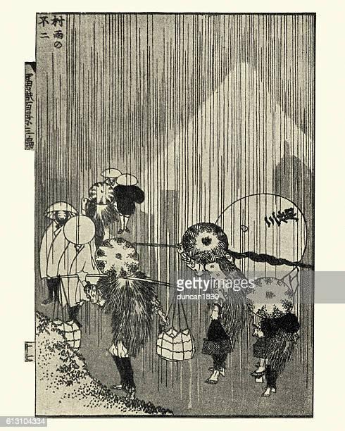 fuji through rain by hokusai - mt. fuji stock illustrations, clip art, cartoons, & icons