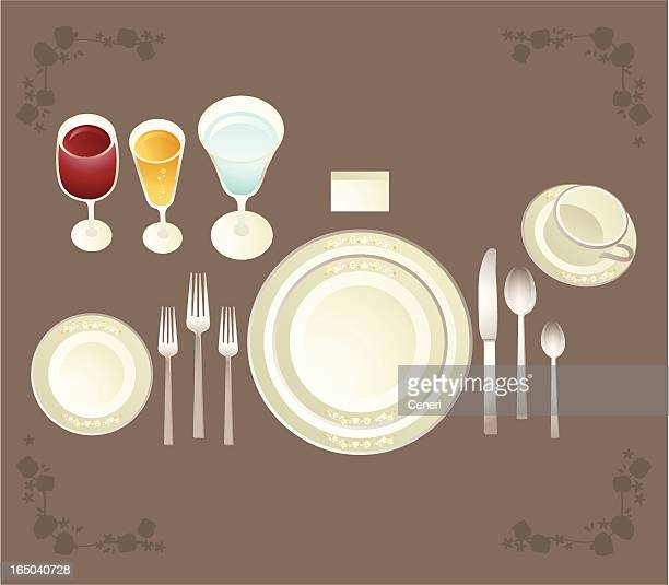 full etiquette placesetting - social grace stock illustrations