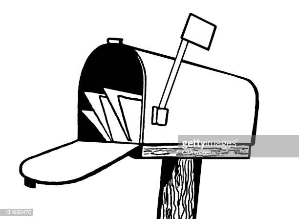 full mailbox - receiving stock illustrations