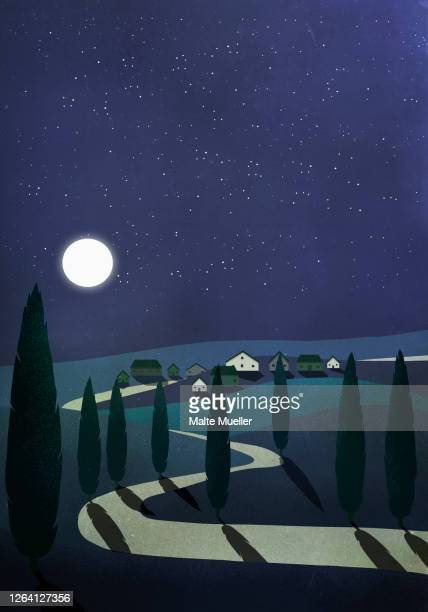 full moon illuminating tranquil rural town and countryside - road stock illustrations