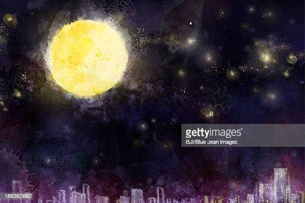 ilustraciones, imágenes clip art, dibujos animados e iconos de stock de full moon in the night - luna llena