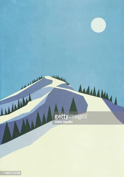 full moon over snowy mountain slope - freshness stock illustrations