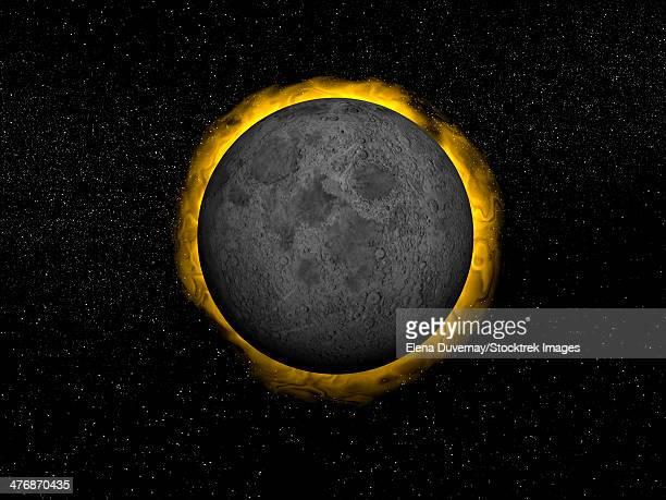 ilustraciones, imágenes clip art, dibujos animados e iconos de stock de full moon passing in front of the sun creating a total eclipse. - eclipsesolar
