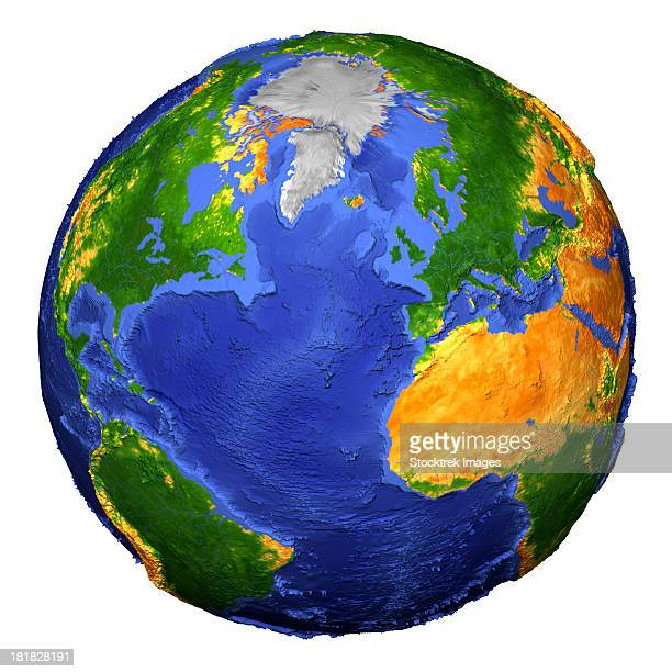 Full view of the Earth derived from AVHRR and topographic data.