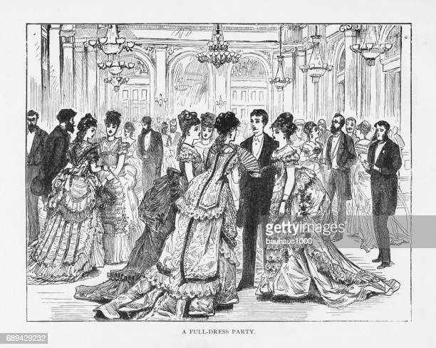 Full-Dress Party Victorian Engraving, 1879