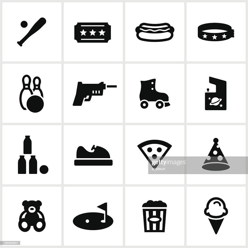 Fun Center and Amusement Park Icons : stock illustration
