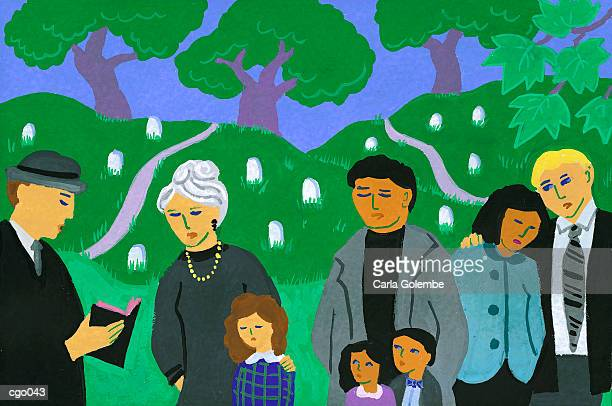 funeral - mid adult women stock illustrations