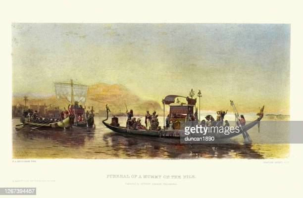 funeral of a mummy on the nile, ancient egypt - ancient egyptian culture stock illustrations