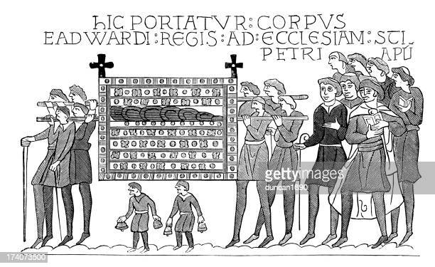 funeral of st. edward the confessor - tapestry stock illustrations