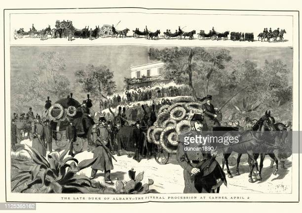 funeral procession of prince leopold, duke of albany, cannes - cannes stock illustrations, clip art, cartoons, & icons
