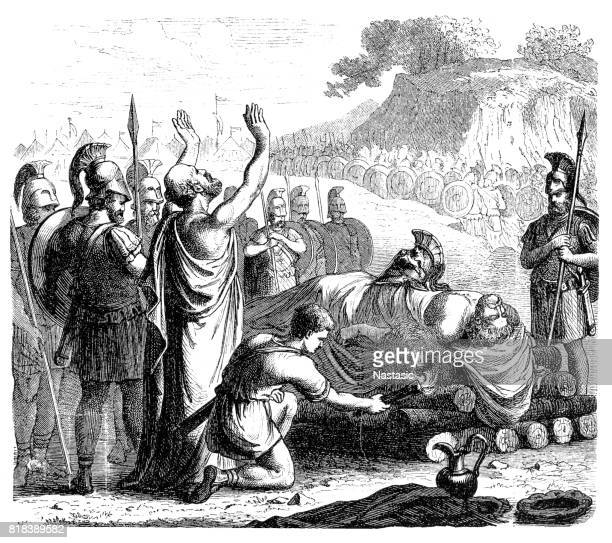 Funeral rites following the Battle of Coronea (also known as the First Battle of Coronea)