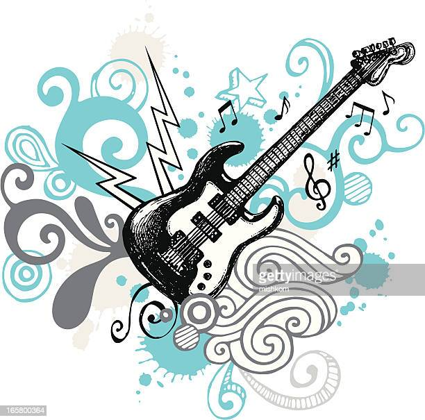 funky guitar design - electric guitar stock illustrations