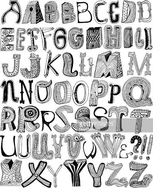 funky hand drawn letters - funky stock illustrations