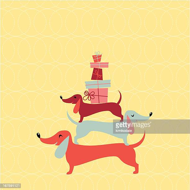 funny badger dogs - christmas dog stock illustrations