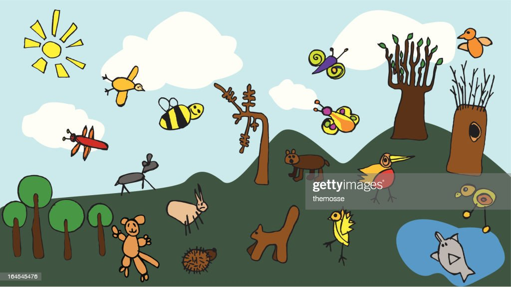 Funny childish vector drawings - symbolise childhood : stock illustration