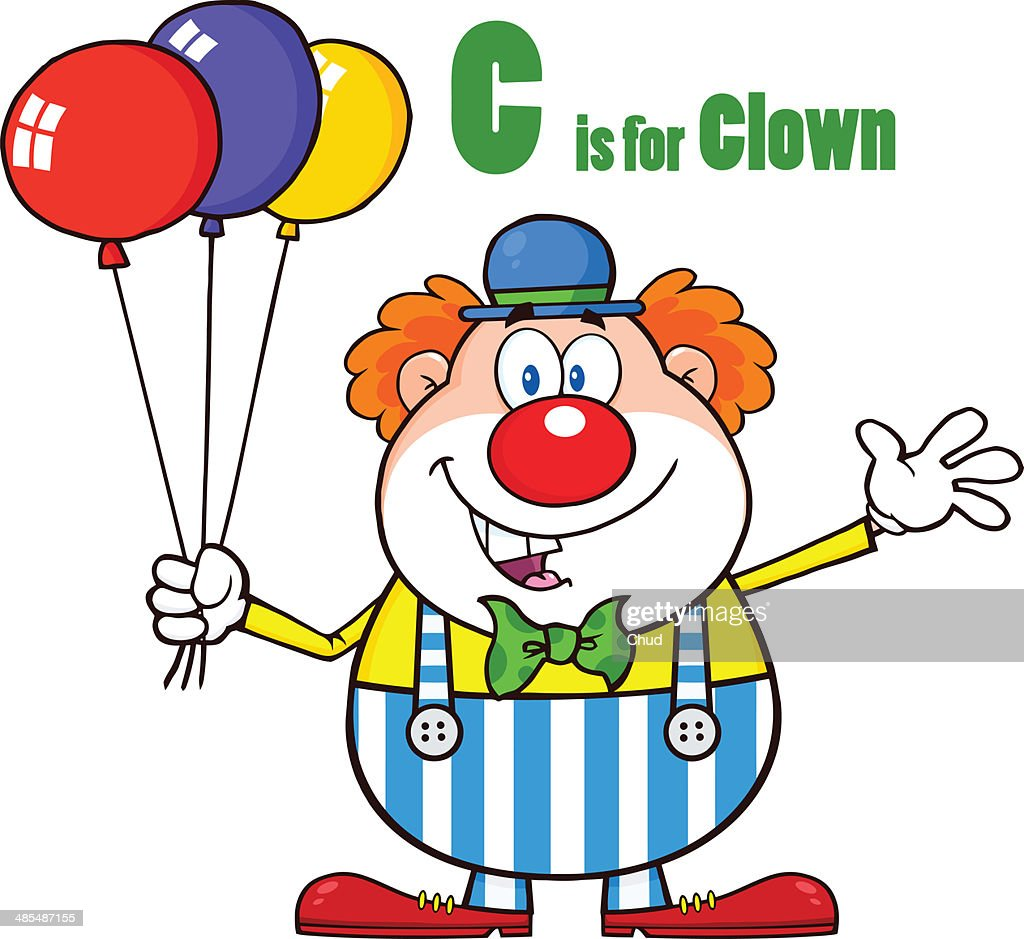 Funny Clown With Balloons And Letter C Stock Illustration | Getty Images