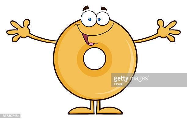 funny donut cartoon character wanting a hug - embracing stock illustrations