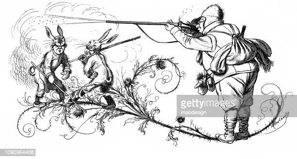 Funny hare hunting - 1896