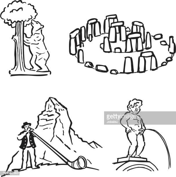 funny travel icons - megalith stock illustrations, clip art, cartoons, & icons
