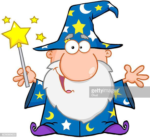 funny wizard waving with magic wand - wizard stock illustrations, clip art, cartoons, & icons