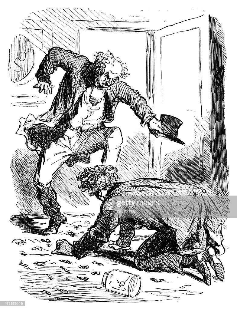 Furious man and a clumsy youth : stock illustration