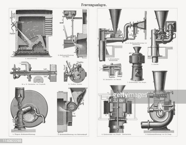 furnace firing devices, germany, wood engraving, published in 1898 - supercharged engine stock illustrations, clip art, cartoons, & icons