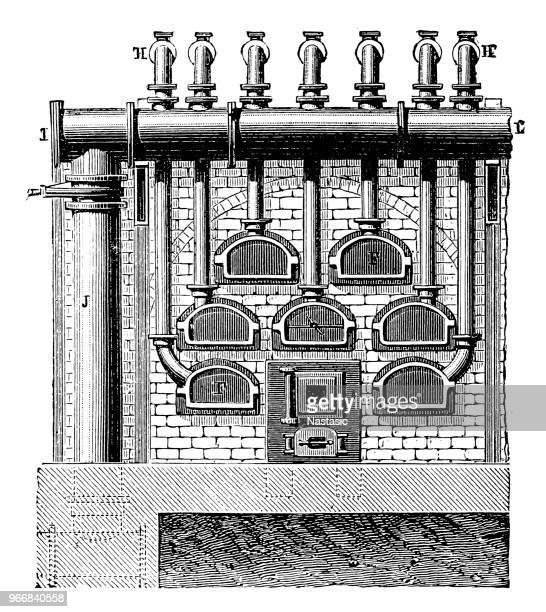 furnace for coal gas distillation - distillation stock illustrations, clip art, cartoons, & icons