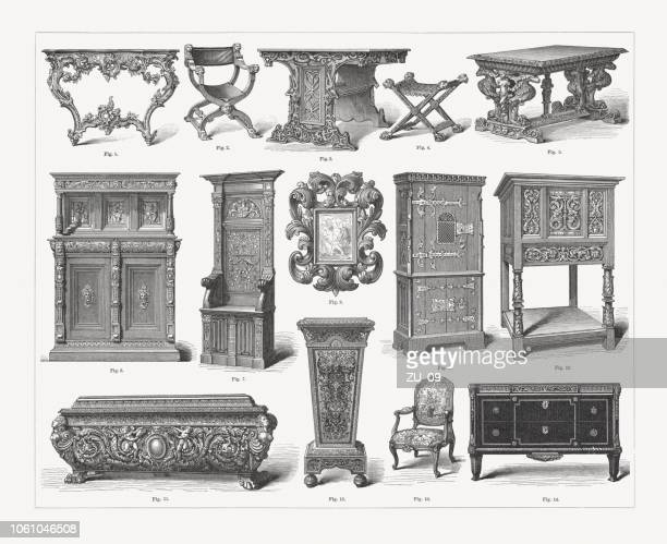 furniture of different styles from gothic to rococo, published 1897 - nice france stock illustrations, clip art, cartoons, & icons