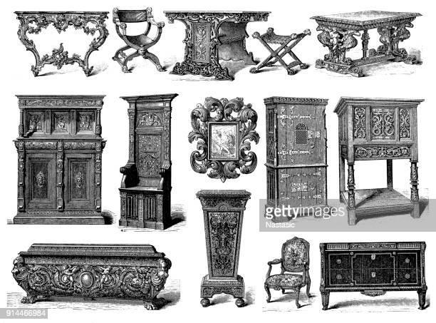 ilustrações, clipart, desenhos animados e ícones de mobiliário, rococó, renascentista, gótico e estilo luis xv - mesa mobília